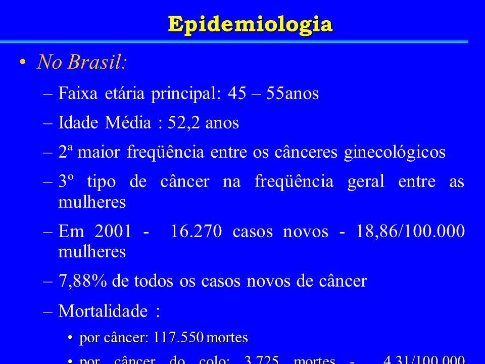No Brasil: –Faixa etária principal: 45 – 55anos –Idade Média : 52,2 anos –2ª maior freqüência entre os cânceres ginecológicos –3º tipo de câncer na fr