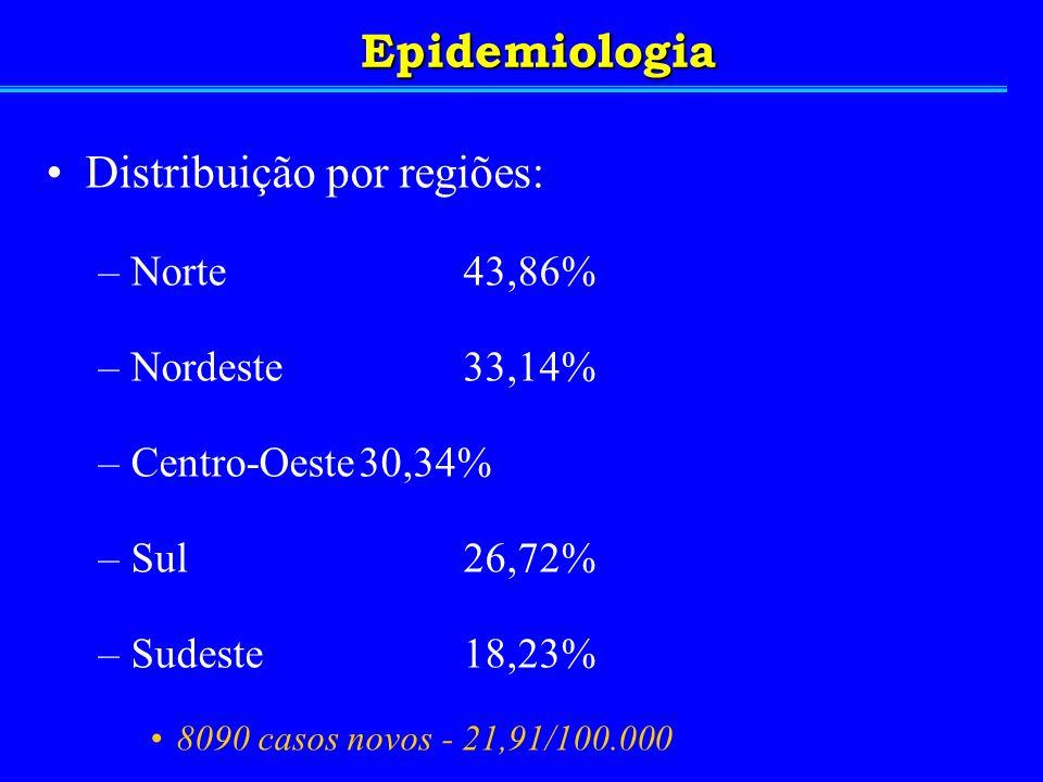 Distribuição por regiões: –Norte43,86% –Nordeste33,14% –Centro-Oeste30,34% –Sul26,72% –Sudeste18,23% 8090 casos novos - 21,91/100.000 4,32/100.000 óbi