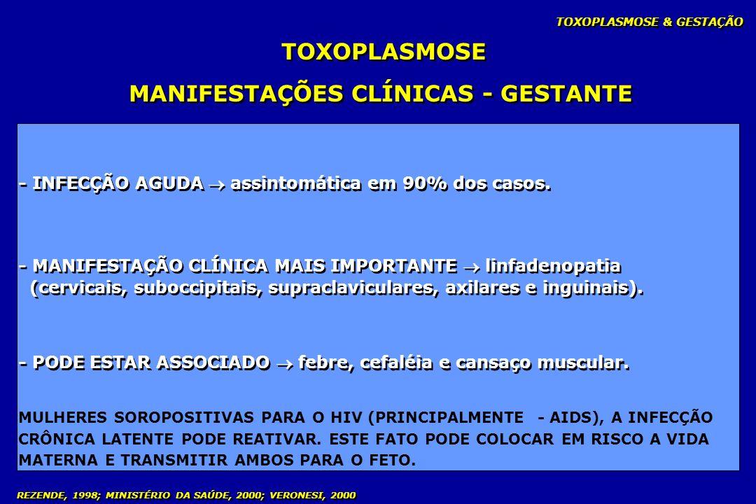 TOXOPLASMOSE & GESTAÇÃO - INFECÇÃO AGUDA assintomática em 90% dos casos. - MANIFESTAÇÃO CLÍNICA MAIS IMPORTANTE linfadenopatia (cervicais, suboccipita