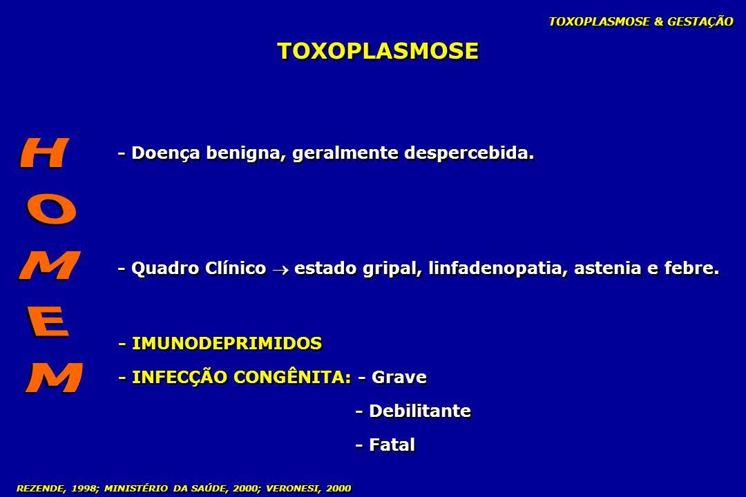 - Doença benigna, geralmente despercebida. - Quadro Clínico estado gripal, linfadenopatia, astenia e febre. TOXOPLASMOSE & GESTAÇÃO - IMUNODEPRIMIDOS