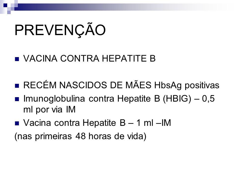 PREVENÇÃO VACINA CONTRA HEPATITE B RECÉM NASCIDOS DE MÃES HbsAg positivas Imunoglobulina contra Hepatite B (HBIG) – 0,5 ml por via IM Vacina contra He