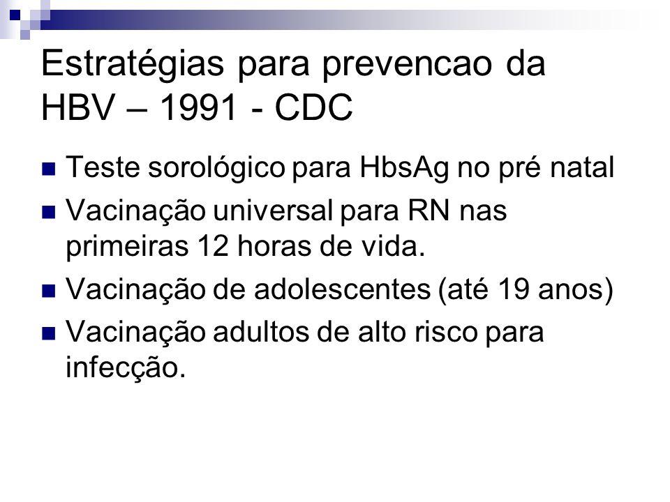 Estratégias para prevencao da HBV – 1991 - CDC Teste sorológico para HbsAg no pré natal Vacinação universal para RN nas primeiras 12 horas de vida. Va