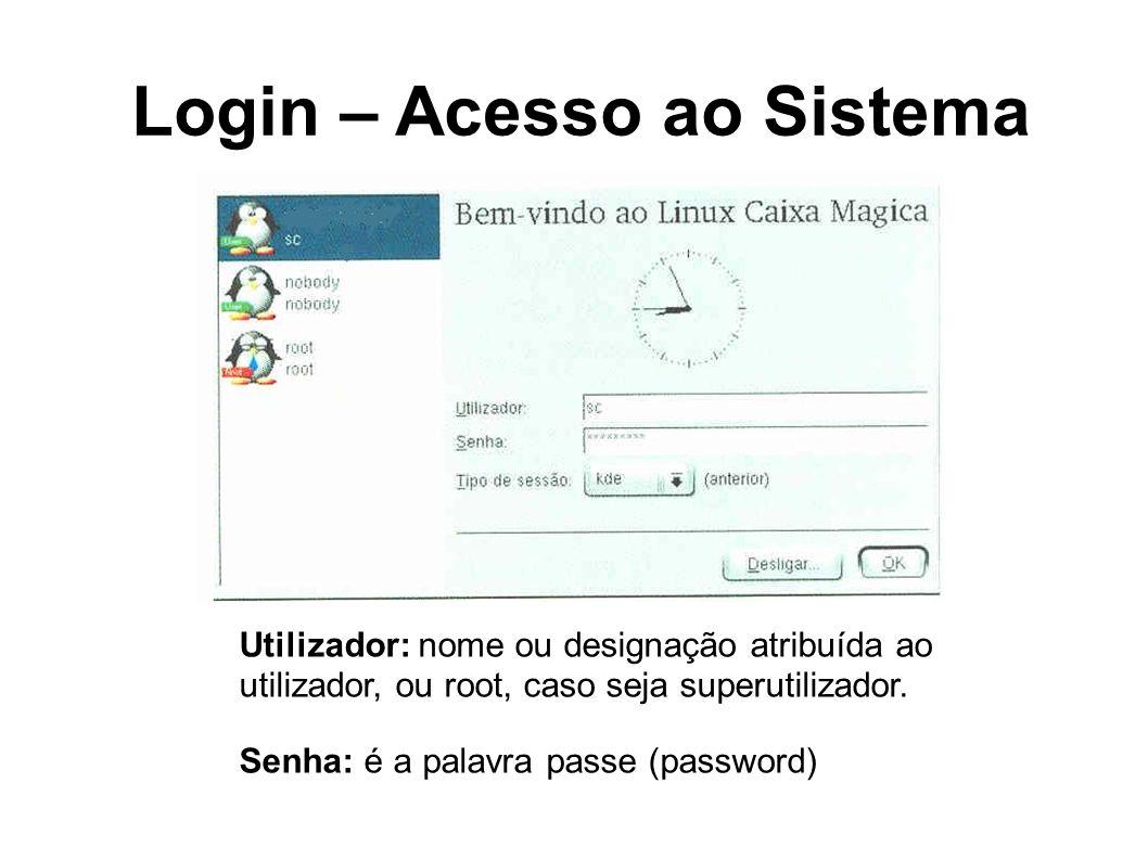 Login – Acesso ao Sistema Utilizador: nome ou designação atribuída ao utilizador, ou root, caso seja superutilizador. Senha: é a palavra passe (passwo