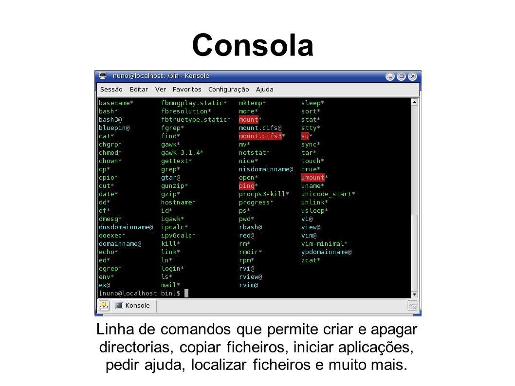Consola Linha de comandos que permite criar e apagar directorias, copiar ficheiros, iniciar aplicações, pedir ajuda, localizar ficheiros e muito mais.