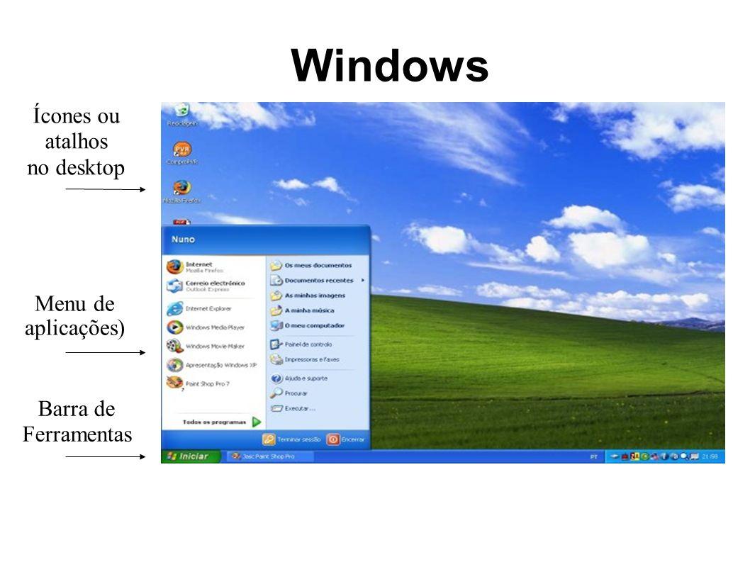 Windows Ícones ou atalhos no desktop Menu de aplicações) Barra de Ferramentas