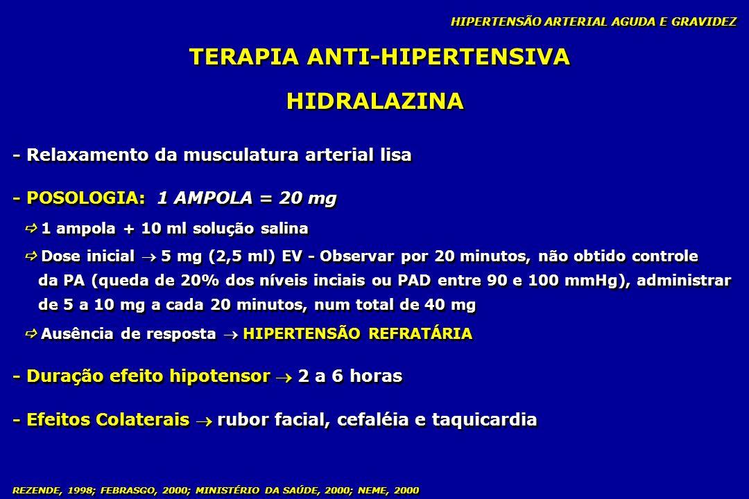 REZENDE, 1998; FEBRASGO, 2000; MINISTÉRIO DA SAÚDE, 2000; NEME, 2000 TERAPIA ANTI-HIPERTENSIVA - Relaxamento da musculatura arterial lisa - POSOLOGIA: