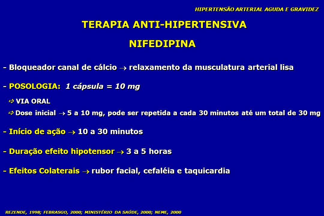 REZENDE, 1998; FEBRASGO, 2000; MINISTÉRIO DA SAÚDE, 2000; NEME, 2000 TERAPIA ANTI-HIPERTENSIVA NIFEDIPINA - Bloqueador canal de cálcio relaxamento da