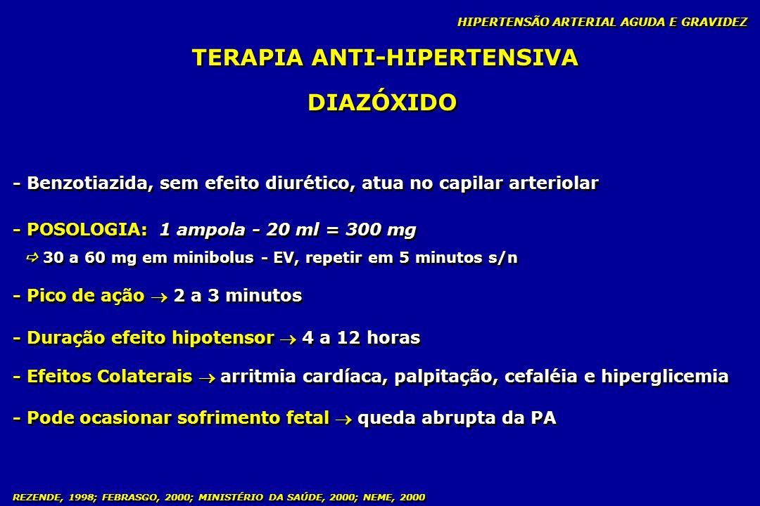 REZENDE, 1998; FEBRASGO, 2000; MINISTÉRIO DA SAÚDE, 2000; NEME, 2000 TERAPIA ANTI-HIPERTENSIVA DIAZÓXIDO - Benzotiazida, sem efeito diurético, atua no