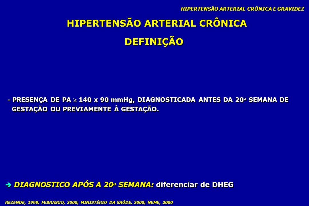 REZENDE, 1998; FEBRASGO, 2000; MINISTÉRIO DA SAÚDE, 2000; NEME, 2000 HIPERTENSÃO ARTERIAL CRÔNICA HIPERTENSÃO ARTERIAL CRÔNICA E GRAVIDEZ - PRESENÇA D