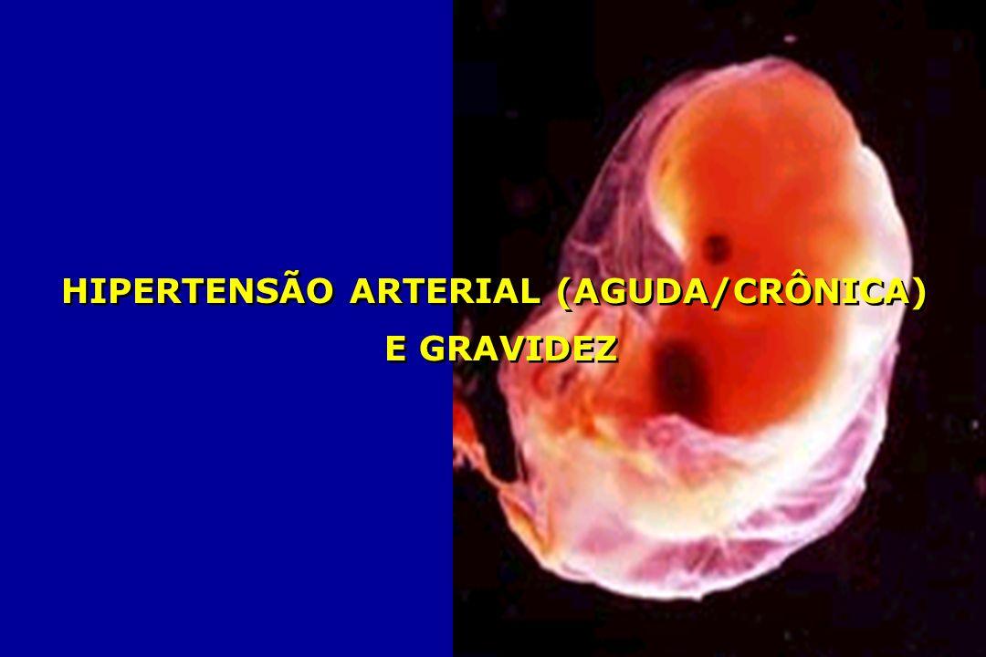 REZENDE, 1998; FEBRASGO, 2000; MINISTÉRIO DA SAÚDE, 2000; NEME, 2000 HIPERTENSÃO ARTERIAL CRÔNICA HIPERTENSÃO ARTERIAL CRÔNICA E GRAVIDEZ COMPLICAÇÕES FETAIS VASOCONSTRICÇÃO HIPERTENSÃO FLUXO ÚTERO-PLACENTÁRIO - RCIU - HIPÓXIA FETAL - ÓBITO FETAL - RCIU - HIPÓXIA FETAL - ÓBITO FETAL