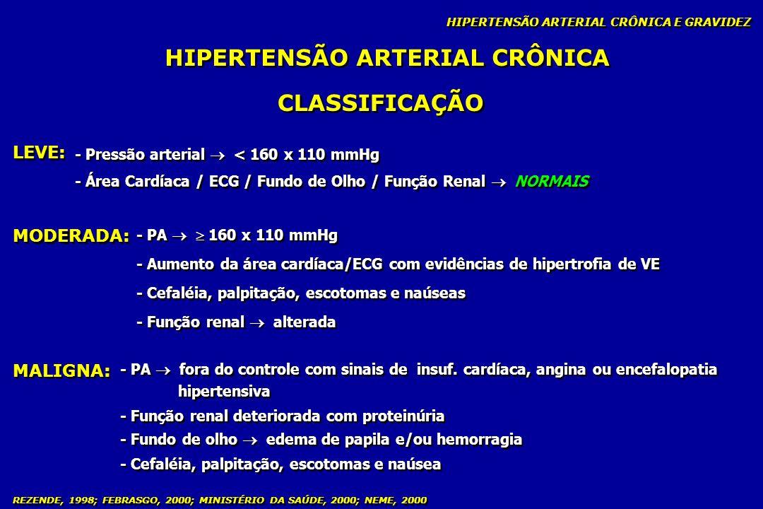 REZENDE, 1998; FEBRASGO, 2000; MINISTÉRIO DA SAÚDE, 2000; NEME, 2000 HIPERTENSÃO ARTERIAL CRÔNICA HIPERTENSÃO ARTERIAL CRÔNICA E GRAVIDEZ CLASSIFICAÇÃ