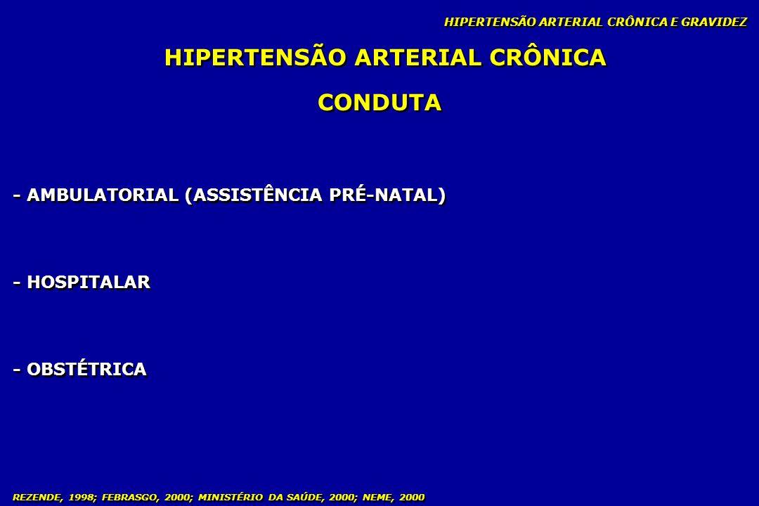 REZENDE, 1998; FEBRASGO, 2000; MINISTÉRIO DA SAÚDE, 2000; NEME, 2000 HIPERTENSÃO ARTERIAL CRÔNICA HIPERTENSÃO ARTERIAL CRÔNICA E GRAVIDEZ CONDUTA - AM