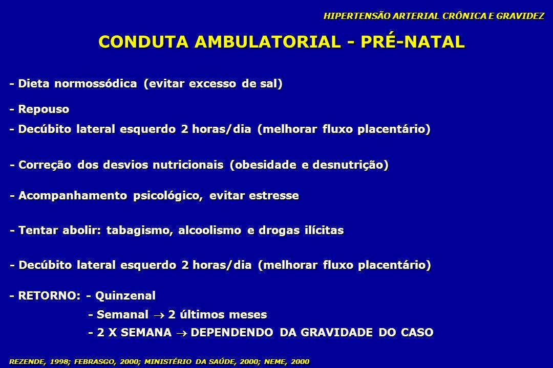 REZENDE, 1998; FEBRASGO, 2000; MINISTÉRIO DA SAÚDE, 2000; NEME, 2000 CONDUTA AMBULATORIAL - PRÉ-NATAL HIPERTENSÃO ARTERIAL CRÔNICA E GRAVIDEZ - Dieta
