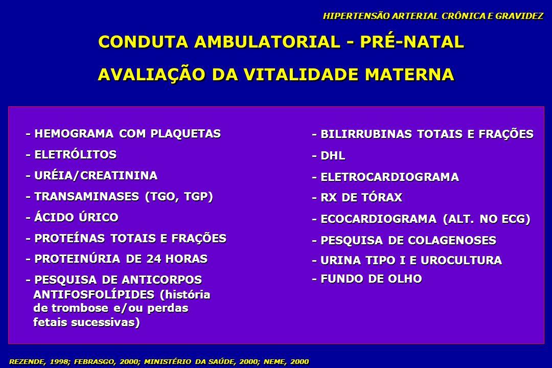 REZENDE, 1998; FEBRASGO, 2000; MINISTÉRIO DA SAÚDE, 2000; NEME, 2000 CONDUTA AMBULATORIAL - PRÉ-NATAL HIPERTENSÃO ARTERIAL CRÔNICA E GRAVIDEZ - HEMOGR