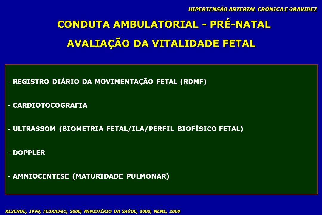 REZENDE, 1998; FEBRASGO, 2000; MINISTÉRIO DA SAÚDE, 2000; NEME, 2000 CONDUTA AMBULATORIAL - PRÉ-NATAL HIPERTENSÃO ARTERIAL CRÔNICA E GRAVIDEZ AVALIAÇÃ