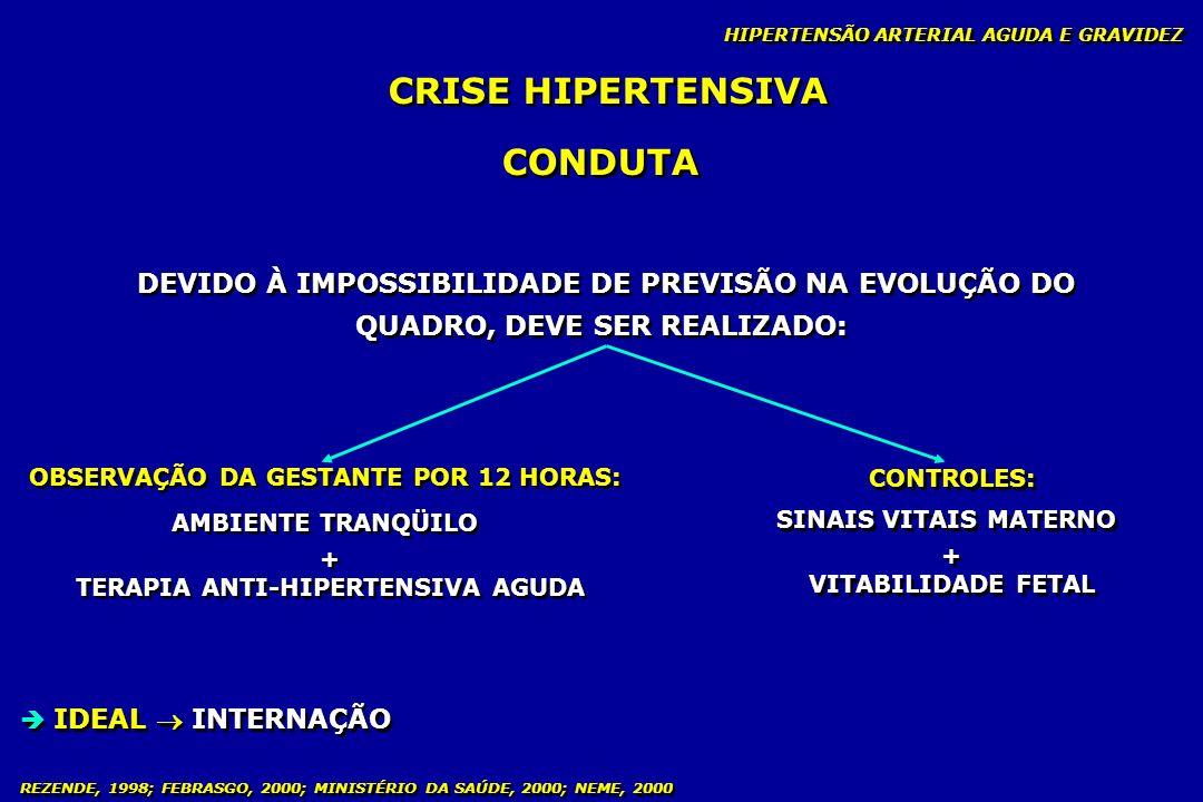REZENDE, 1998; FEBRASGO, 2000; MINISTÉRIO DA SAÚDE, 2000; NEME, 2000 CONDUTA AMBULATORIAL - PRÉ-NATAL HIPERTENSÃO ARTERIAL CRÔNICA E GRAVIDEZ AVALIAÇÃO DA VITALIDADE FETAL - CARDIOTOCOGRAFIA: A partir da 28 a semana semanal Dependendo da gravidade diário ou 48 horas - CARDIOTOCOGRAFIA: A partir da 28 a semana semanal Dependendo da gravidade diário ou 48 horas - ULTRASSOM: A partir da 28 a semana seriado para verificar crescimento fetal e índice de líquido amniótico, podendo ser semanal ou quinzenal (gravidade do caso) - ULTRASSOM: A partir da 28 a semana seriado para verificar crescimento fetal e índice de líquido amniótico, podendo ser semanal ou quinzenal (gravidade do caso) - DOPPLER: A partir da 24 a semana quinzenal (presença de incisura na artéria uterina) - DOPPLER: A partir da 24 a semana quinzenal (presença de incisura na artéria uterina) - PERFIL BIOFÍSICO FETAL: Semanal 28 a semana Gravidade do caso protocolo de alto risco (24/48 horas) - PERFIL BIOFÍSICO FETAL: Semanal 28 a semana Gravidade do caso protocolo de alto risco (24/48 horas)