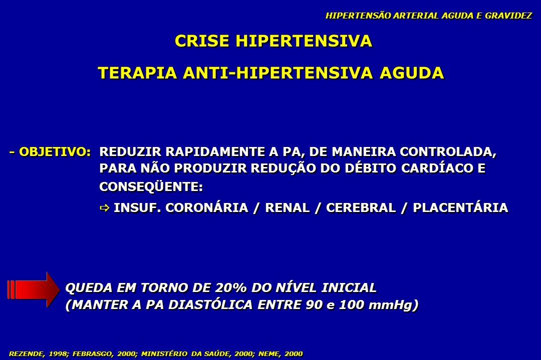 REZENDE, 1998; FEBRASGO, 2000; MINISTÉRIO DA SAÚDE, 2000; NEME, 2000 CONDUTA AMBULATORIAL - PRÉ-NATAL HIPERTENSÃO ARTERIAL CRÔNICA E GRAVIDEZ ANTI- HIPERTENSIVO DOSAGEM DIÁRIA DROGAS MÍNIMA MÁXIMA ALFA-METILDOPA 750 mg 2,0 g PINDOLOL 10 mg 30,0 g HIDRALAZINA 50 mg 200 mg NIFEDIPINA 20 mg 60 mg Iniciar o uso quando a PA for 100 mmHg Proscrito: hipotensor do tipo ECA Iniciar o uso quando a PA for 100 mmHg Proscrito: hipotensor do tipo ECA