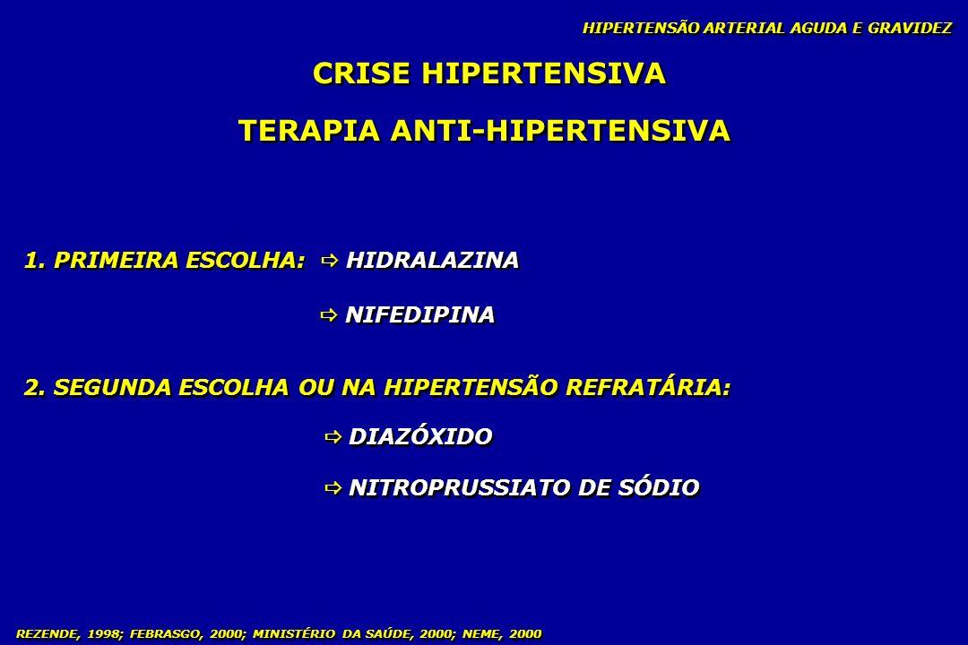 REZENDE, 1998; FEBRASGO, 2000; MINISTÉRIO DA SAÚDE, 2000; NEME, 2000 HIPERTENSÃO ARTERIAL CRÔNICA HIPERTENSÃO ARTERIAL CRÔNICA E GRAVIDEZ CLASSIFICAÇÃO - Pressão arterial < 160 x 110 mmHg - Área Cardíaca / ECG / Fundo de Olho / Função Renal NORMAIS - Pressão arterial < 160 x 110 mmHg - Área Cardíaca / ECG / Fundo de Olho / Função Renal NORMAIS LEVE: MODERADA: MALIGNA: - PA 160 x 110 mmHg - Aumento da área cardíaca/ECG com evidências de hipertrofia de VE - Cefaléia, palpitação, escotomas e naúseas - Função renal alterada - PA 160 x 110 mmHg - Aumento da área cardíaca/ECG com evidências de hipertrofia de VE - Cefaléia, palpitação, escotomas e naúseas - Função renal alterada - PA fora do controle com sinais de insuf.