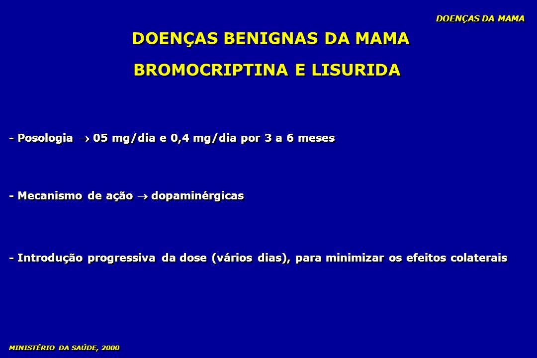 BROMOCRIPTINA E LISURIDA - Posologia 05 mg/dia e 0,4 mg/dia por 3 a 6 meses - Mecanismo de ação dopaminérgicas - Introdução progressiva da dose (vário