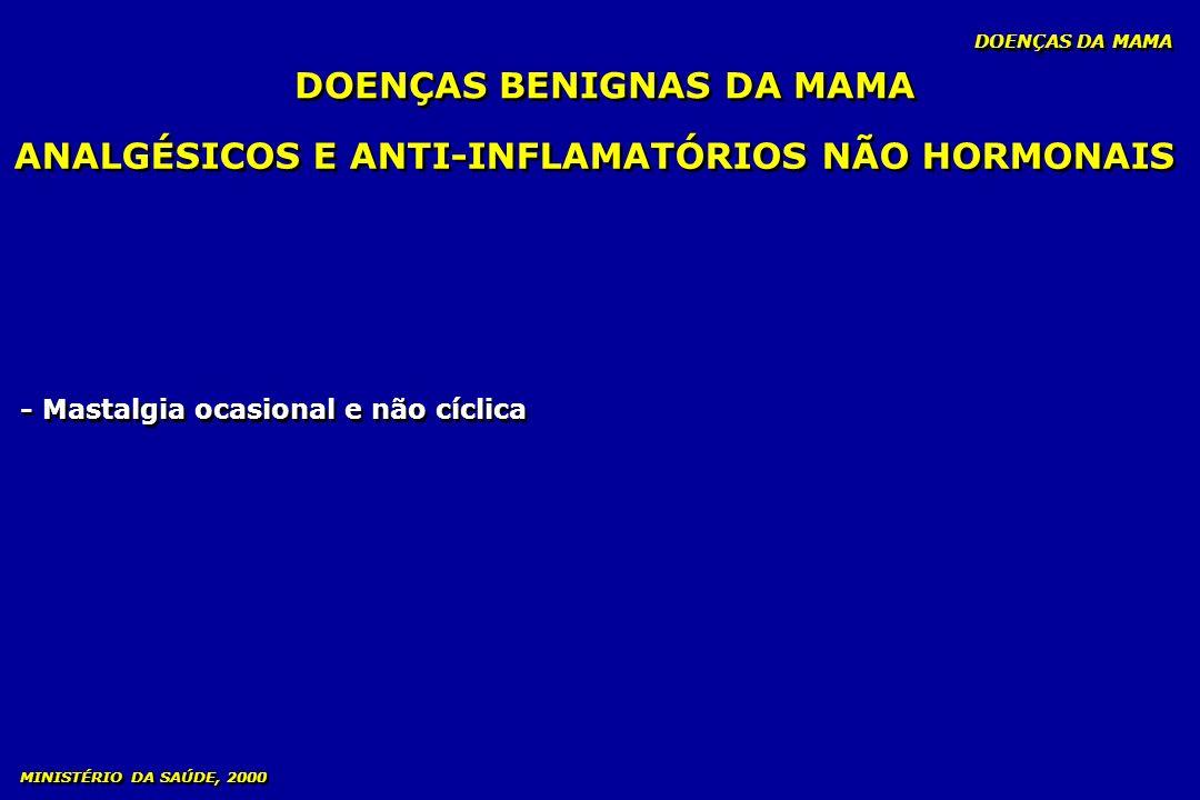 ANALGÉSICOS E ANTI-INFLAMATÓRIOS NÃO HORMONAIS - Mastalgia ocasional e não cíclica DOENÇAS BENIGNAS DA MAMA DOENÇAS DA MAMA MINISTÉRIO DA SAÚDE, 2000