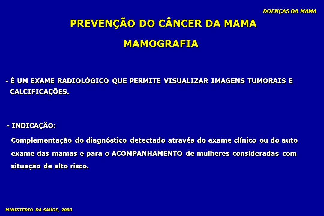 MAMOGRAFIA - INDICAÇÃO: Complementação do diagnóstico detectado através do exame clínico ou do auto exame das mamas e para o ACOMPANHAMENTO de mulhere