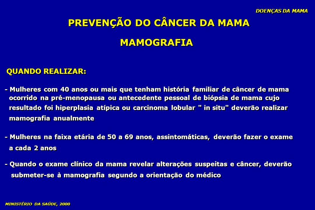 MAMOGRAFIA QUANDO REALIZAR: - Mulheres com 40 anos ou mais que tenham história familiar de câncer de mama ocorrido na pré-menopausa ou antecedente pes