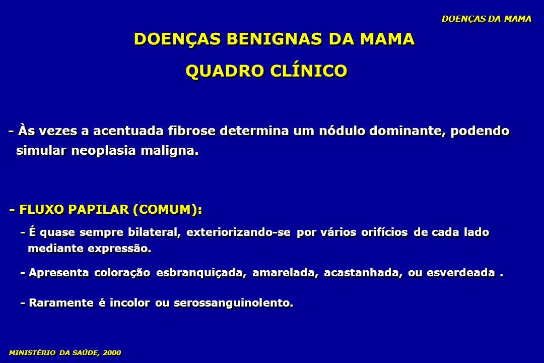- ANAMNESE mastalgia cíclica - EXAME GINECOLÓGICO tendência à nodularidade na palpação - EXAMES COMPLEMENTARES: - MAMOGRAFIA - ULTRA-SOM - ANAMNESE mastalgia cíclica - EXAME GINECOLÓGICO tendência à nodularidade na palpação - EXAMES COMPLEMENTARES: - MAMOGRAFIA - ULTRA-SOM DOENÇAS BENIGNAS DA MAMA DOENÇAS DA MAMA MINISTÉRIO DA SAÚDE, 2000 DIAGNÓSTICO