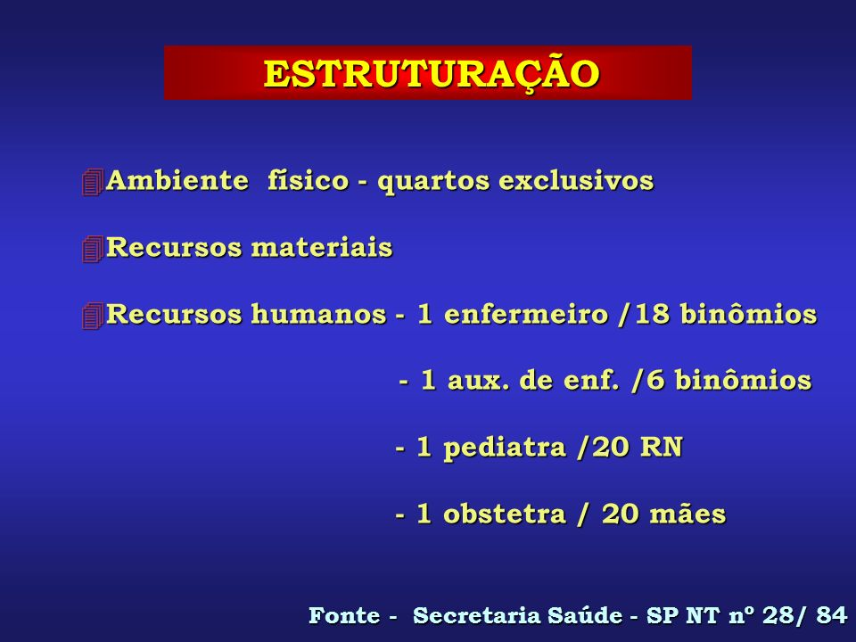 ESTRUTURAÇÃO ESTRUTURAÇÃO 4 Ambiente físico - quartos exclusivos 4 Recursos materiais 4 Recursos humanos - 1 enfermeiro /18 binômios - 1 aux. de enf.