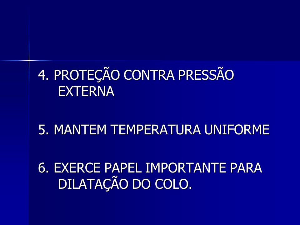 4. PROTEÇÃO CONTRA PRESSÃO EXTERNA 5. MANTEM TEMPERATURA UNIFORME 6. EXERCE PAPEL IMPORTANTE PARA DILATAÇÃO DO COLO.
