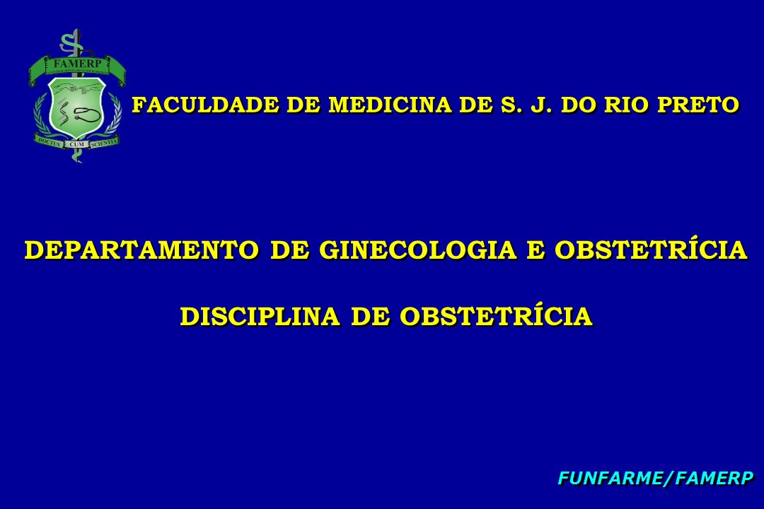 FACULDADE DE MEDICINA DE S. J. DO RIO PRETO DEPARTAMENTO DE GINECOLOGIA E OBSTETRÍCIA DISCIPLINA DE OBSTETRÍCIA DEPARTAMENTO DE GINECOLOGIA E OBSTETRÍ
