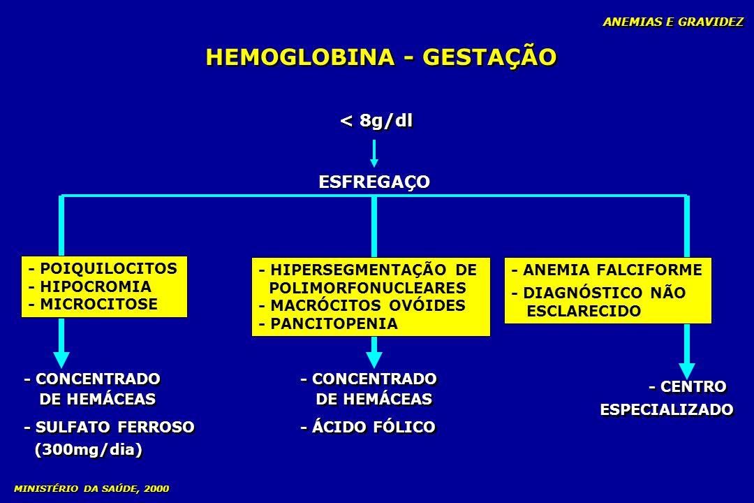 HEMOGLOBINA - GESTAÇÃO < 8g/dl ESFREGAÇO ANEMIAS E GRAVIDEZ - POIQUILOCITOS - HIPOCROMIA - MICROCITOSE - CONCENTRADO DE HEMÁCEAS - SULFATO FERROSO (30