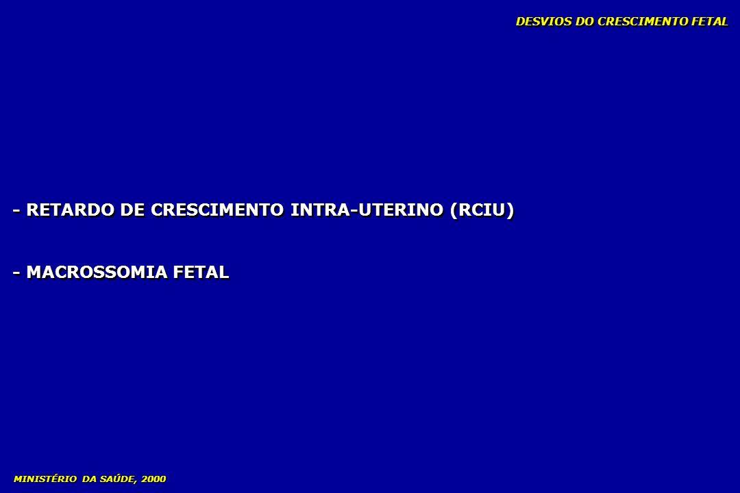 - RETARDO DE CRESCIMENTO INTRA-UTERINO (RCIU) - MACROSSOMIA FETAL - RETARDO DE CRESCIMENTO INTRA-UTERINO (RCIU) - MACROSSOMIA FETAL MINISTÉRIO DA SAÚD