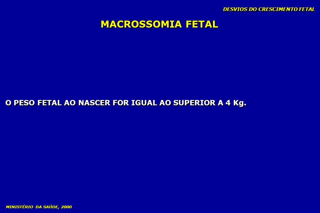 DESVIOS DO CRESCIMENTO FETAL MACROSSOMIA FETAL MINISTÉRIO DA SAÚDE, 2000 O PESO FETAL AO NASCER FOR IGUAL AO SUPERIOR A 4 Kg.