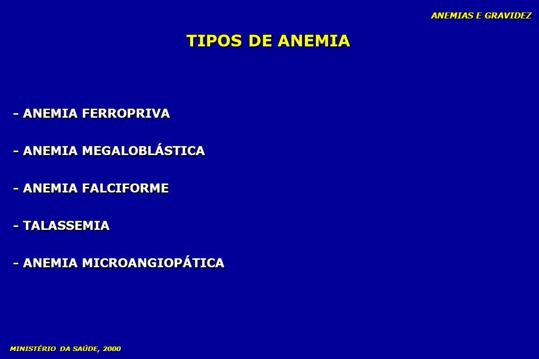 TIPOS DE ANEMIA ANEMIAS E GRAVIDEZ - ANEMIA FERROPRIVA - ANEMIA MEGALOBLÁSTICA - ANEMIA FALCIFORME - TALASSEMIA - ANEMIA MICROANGIOPÁTICA - ANEMIA FER