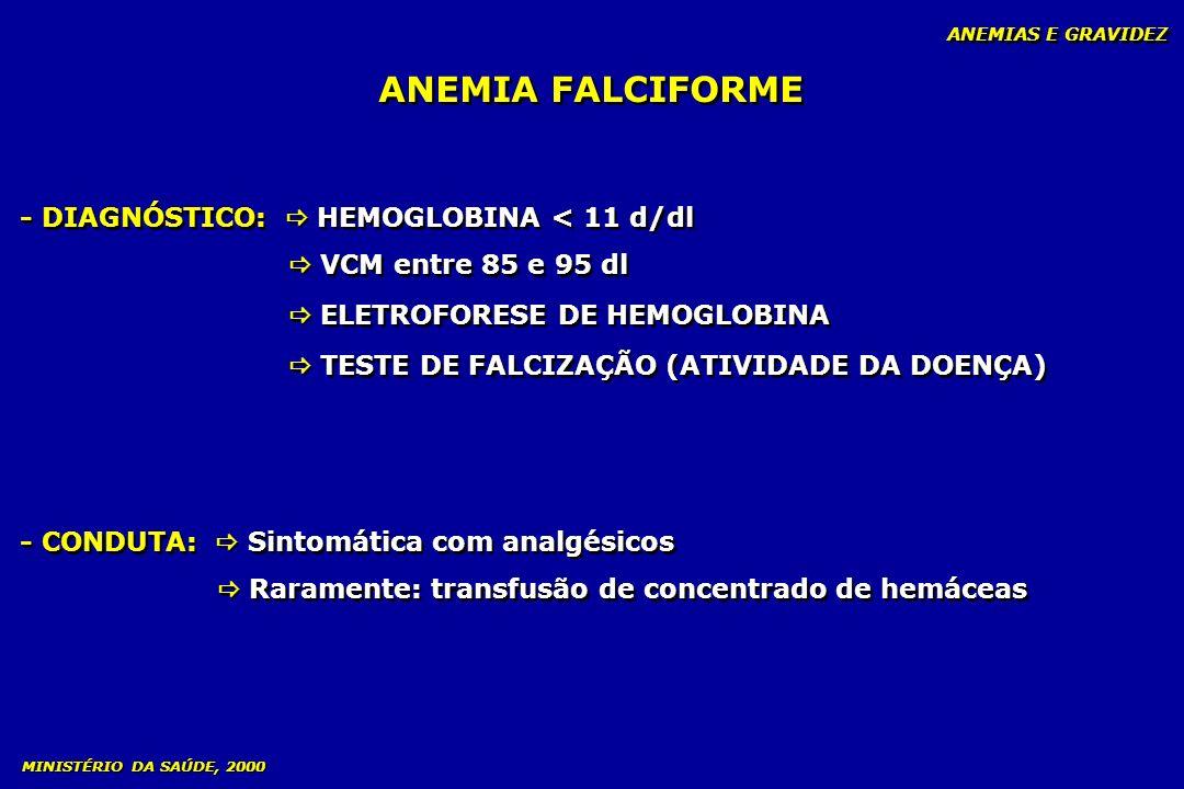 ANEMIA FALCIFORME ANEMIAS E GRAVIDEZ - DIAGNÓSTICO: HEMOGLOBINA < 11 d/dl VCM entre 85 e 95 dl ELETROFORESE DE HEMOGLOBINA TESTE DE FALCIZAÇÃO (ATIVID