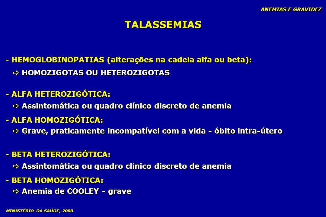 TALASSEMIAS ANEMIAS E GRAVIDEZ - HEMOGLOBINOPATIAS (alterações na cadeia alfa ou beta): HOMOZIGOTAS OU HETEROZIGOTAS - HEMOGLOBINOPATIAS (alterações n