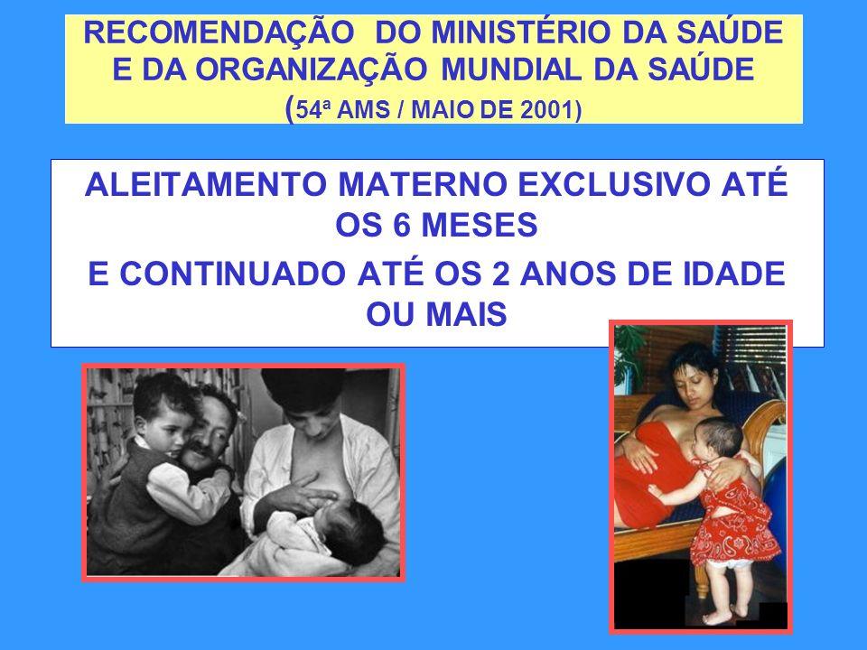 RECOMENDAÇÃO DO MINISTÉRIO DA SAÚDE E DA ORGANIZAÇÃO MUNDIAL DA SAÚDE ( 54ª AMS / MAIO DE 2001) ALEITAMENTO MATERNO EXCLUSIVO ATÉ OS 6 MESES E CONTINU