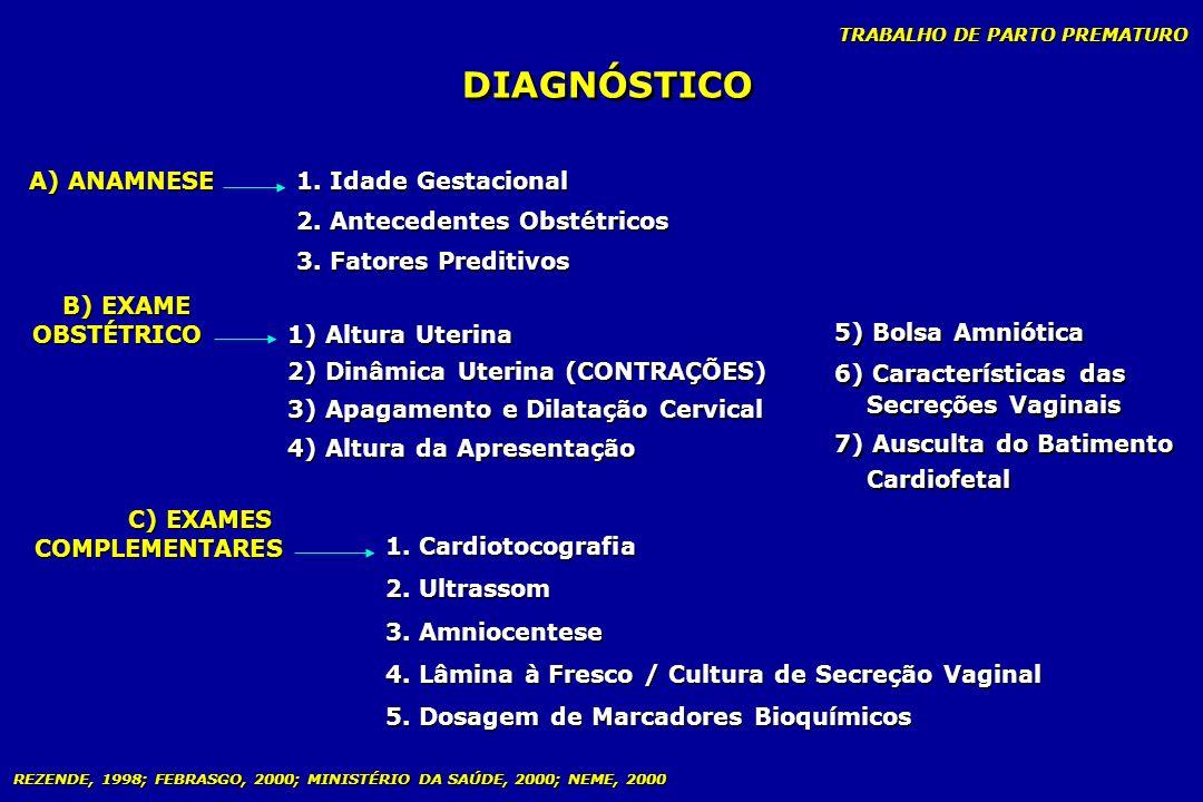 TRABALHO DE PARTO PREMATURO DIAGNÓSTICO A) ANAMNESE B) EXAME OBSTÉTRICO B) EXAME OBSTÉTRICO C) EXAMES COMPLEMENTARES C) EXAMES COMPLEMENTARES 1. Idade