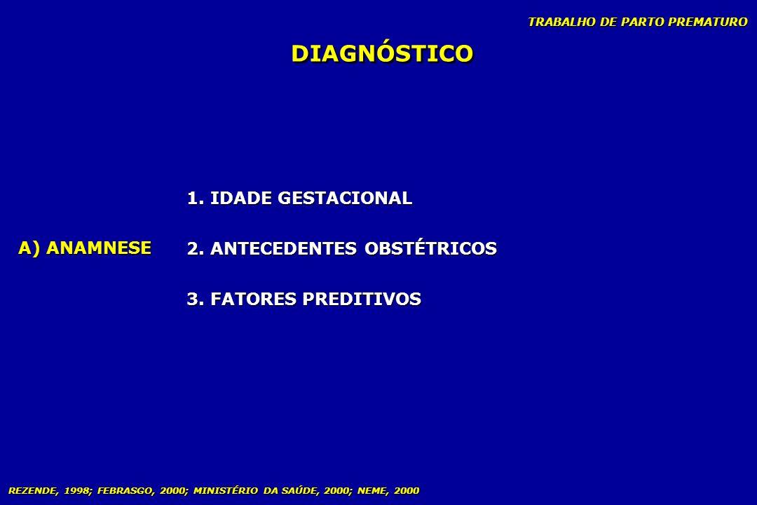 TRABALHO DE PARTO PREMATURO DIAGNÓSTICO A) ANAMNESE 1. IDADE GESTACIONAL 2. ANTECEDENTES OBSTÉTRICOS 3. FATORES PREDITIVOS 1. IDADE GESTACIONAL 2. ANT