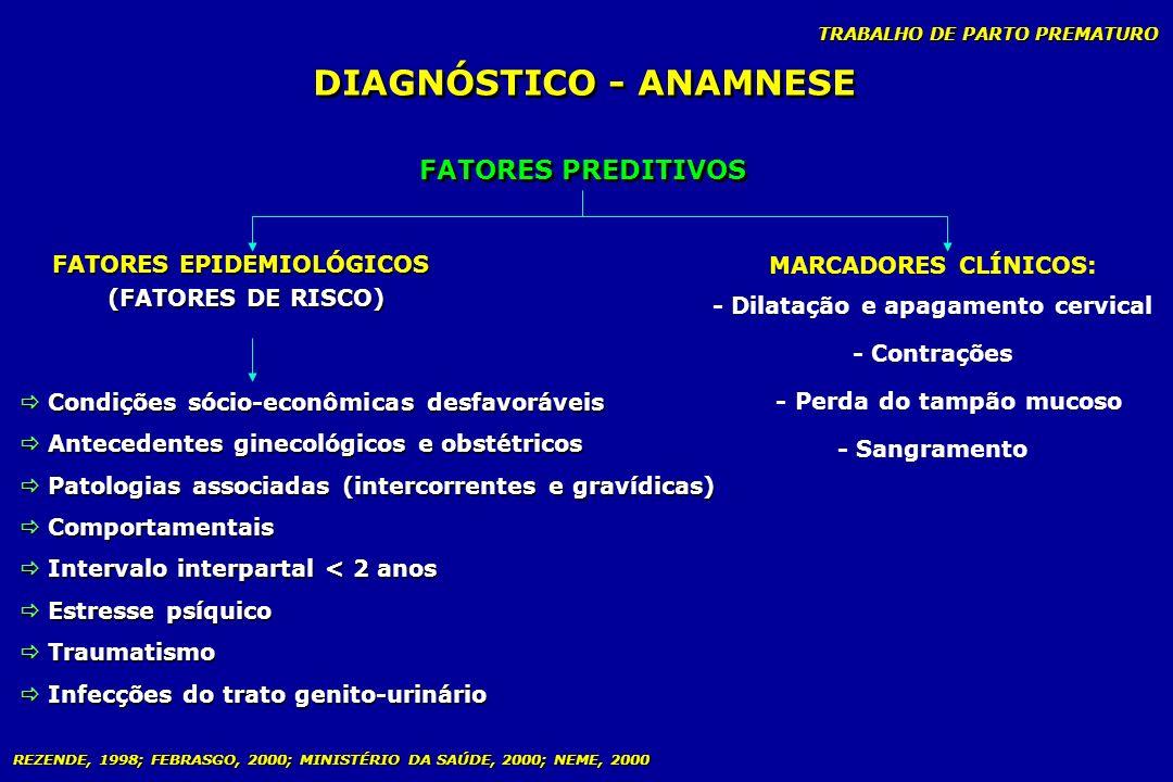 TRABALHO DE PARTO PREMATURO FATORES PREDITIVOS FATORES EPIDEMIOLÓGICOS (FATORES DE RISCO) FATORES EPIDEMIOLÓGICOS (FATORES DE RISCO) MARCADORES CLÍNIC