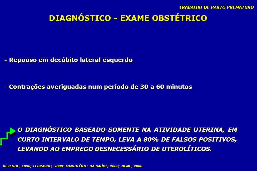 TRABALHO DE PARTO PREMATURO - Repouso em decúbito lateral esquerdo - Contrações averiguadas num período de 30 a 60 minutos O DIAGNÓSTICO BASEADO SOMEN