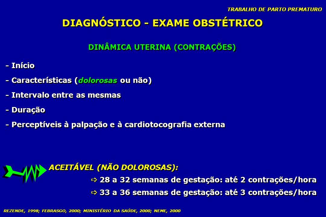 TRABALHO DE PARTO PREMATURO DINÂMICA UTERINA (CONTRAÇÕES) DIAGNÓSTICO - EXAME OBSTÉTRICO - Início - Características (dolorosas ou não) - Intervalo ent