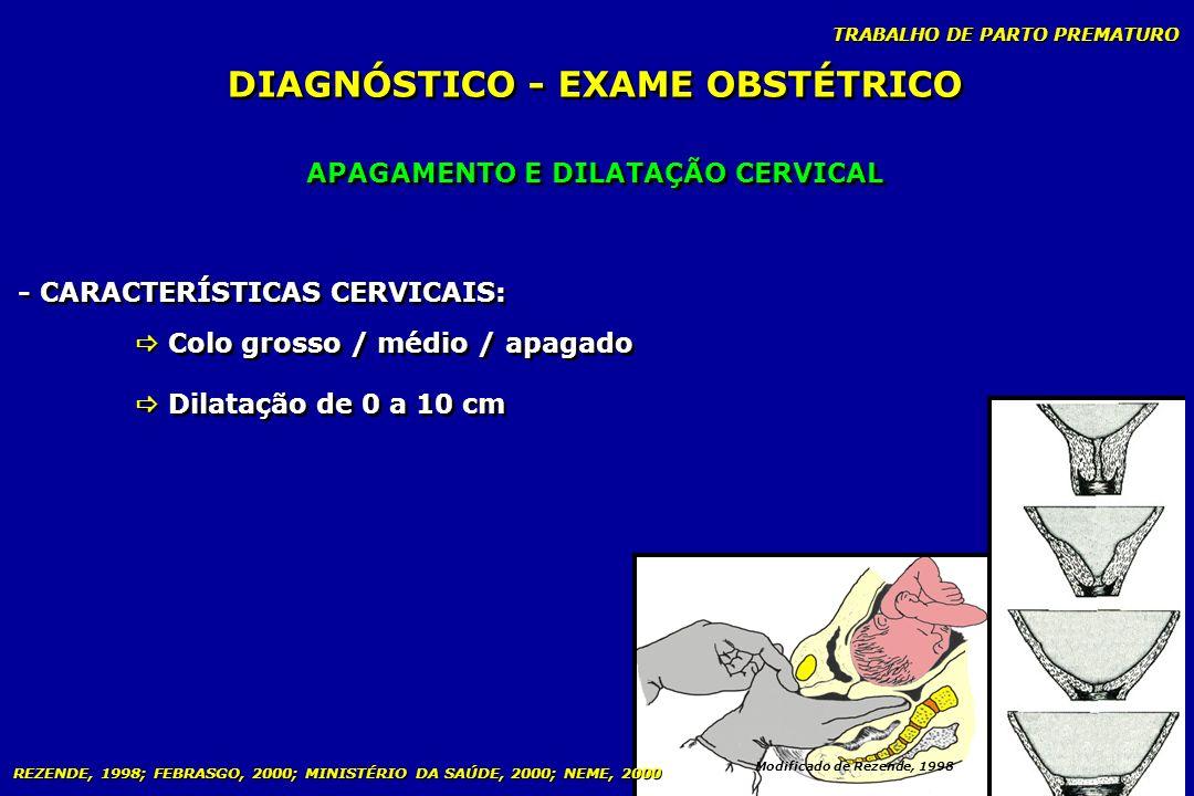 TRABALHO DE PARTO PREMATURO APAGAMENTO E DILATAÇÃO CERVICAL DIAGNÓSTICO - EXAME OBSTÉTRICO Modificado de Rezende, 1998 - CARACTERÍSTICAS CERVICAIS: Co
