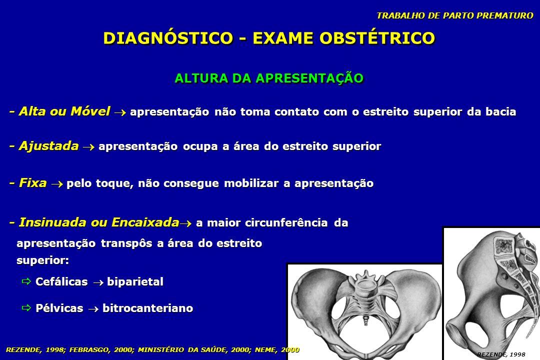 TRABALHO DE PARTO PREMATURO ALTURA DA APRESENTAÇÃO DIAGNÓSTICO - EXAME OBSTÉTRICO - Alta ou Móvel apresentação não toma contato com o estreito superio