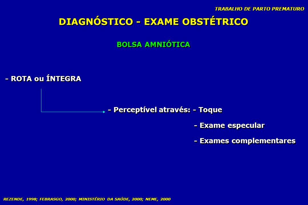TRABALHO DE PARTO PREMATURO BOLSA AMNIÓTICA DIAGNÓSTICO - EXAME OBSTÉTRICO - Perceptível através: - Toque - Exame especular - Exames complementares -
