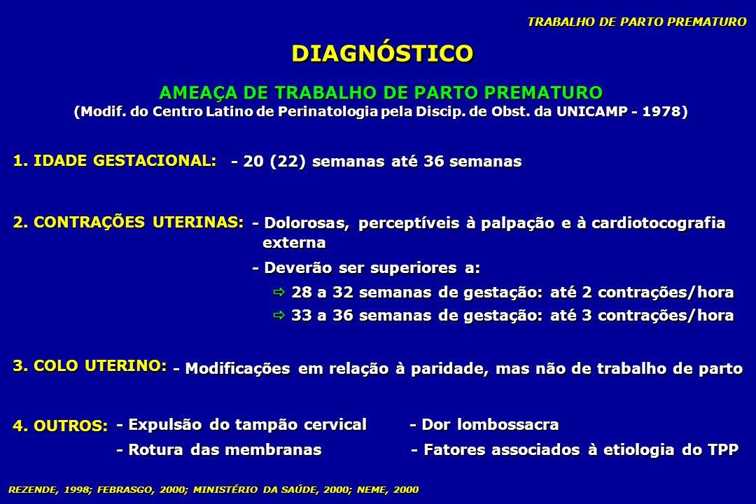 TRABALHO DE PARTO PREMATURO DIAGNÓSTICO AMEAÇA DE TRABALHO DE PARTO PREMATURO (Modif. do Centro Latino de Perinatologia pela Discip. de Obst. da UNICA