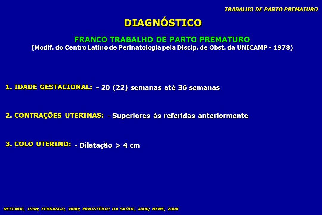 TRABALHO DE PARTO PREMATURO DIAGNÓSTICO FRANCO TRABALHO DE PARTO PREMATURO (Modif. do Centro Latino de Perinatologia pela Discip. de Obst. da UNICAMP