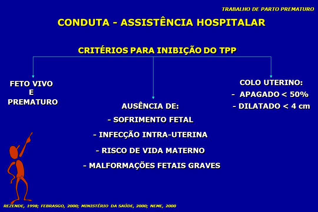 TRABALHO DE PARTO PREMATURO CONDUTA - ASSISTÊNCIA HOSPITALAR CRITÉRIOS PARA INIBIÇÃO DO TPP FETO VIVO E PREMATURO FETO VIVO E PREMATURO AUSÊNCIA DE: -