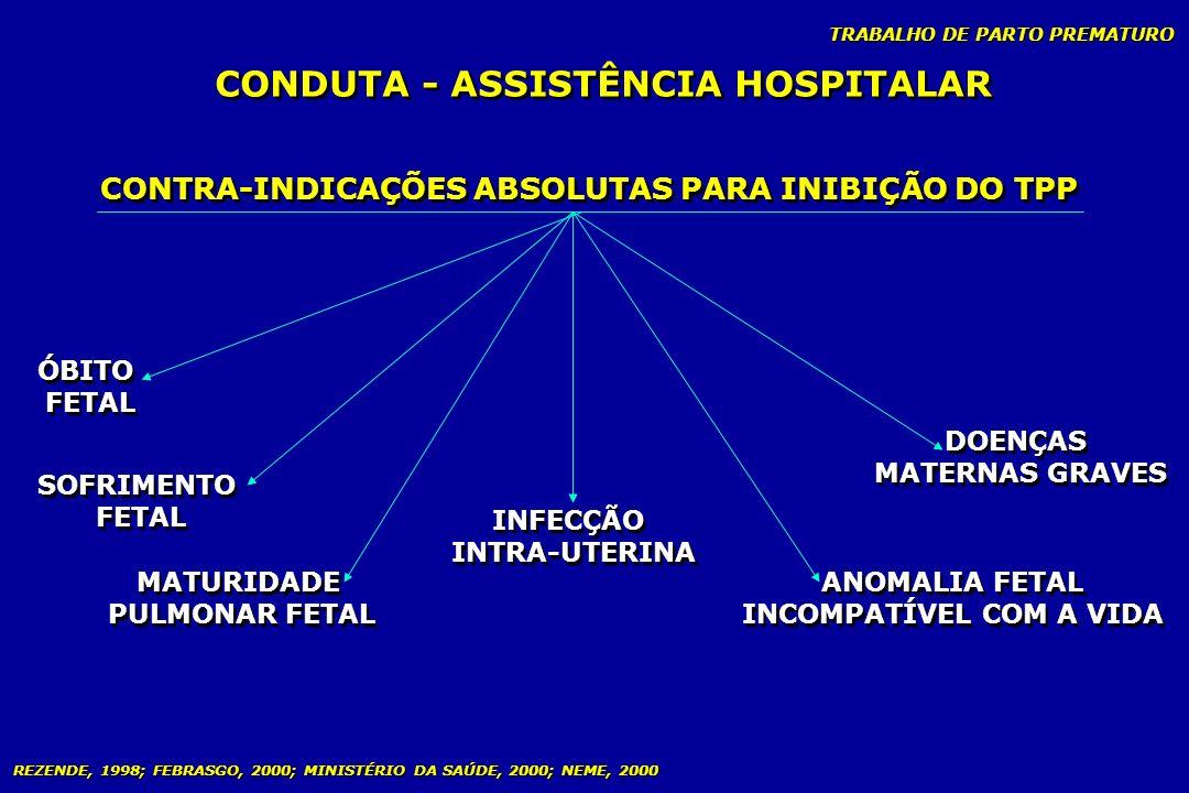TRABALHO DE PARTO PREMATURO CONDUTA - ASSISTÊNCIA HOSPITALAR CONTRA-INDICAÇÕES ABSOLUTAS PARA INIBIÇÃO DO TPP ÓBITO FETAL ÓBITO FETAL SOFRIMENTO FETAL