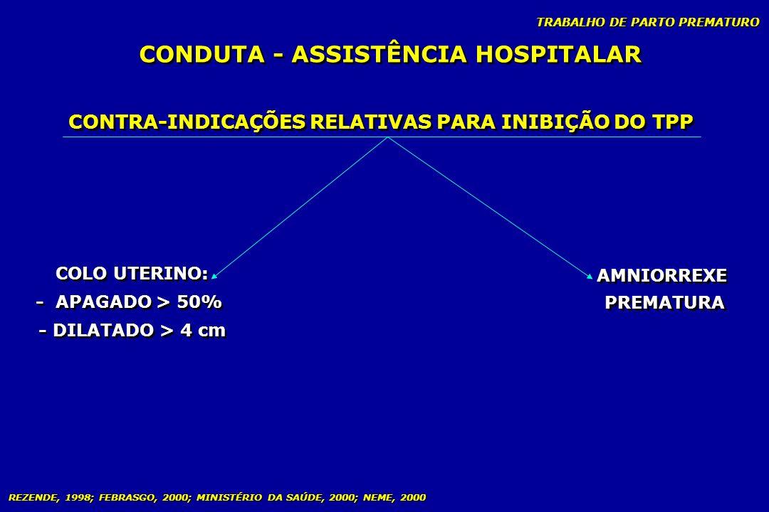 TRABALHO DE PARTO PREMATURO CONDUTA - ASSISTÊNCIA HOSPITALAR CONTRA-INDICAÇÕES RELATIVAS PARA INIBIÇÃO DO TPP COLO UTERINO: - APAGADO > 50% - DILATADO